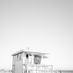 Santa Monica beach lifeguard tower sixteen black and white photo. Santa Monica is a coastal city in Southern California in the United States of America. Copyright ⓒ 2017 Paul Velgos with All Rights Reserved.