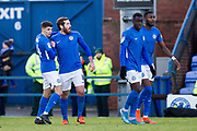 Macclesfield Town midfielder Jak McCourt celebrate his goal with team-mates during the EFL Sky Bet League 2 match between Macclesfield Town and Bradford City at Moss Rose, Macclesfield, United Kingdom on 30 November 2019.