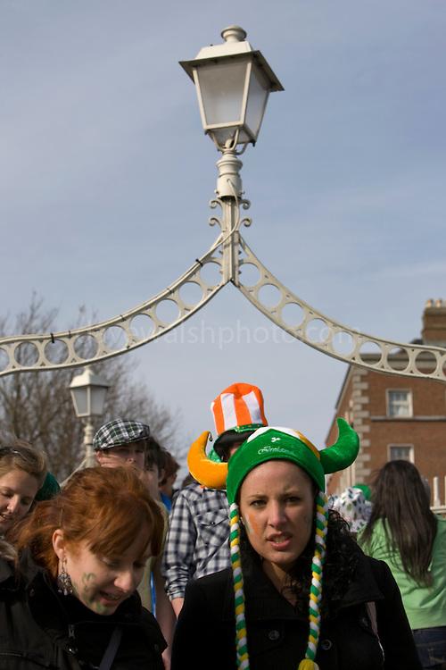 Girl in Irish viking hat on Hapenny Bridge, Dublin, St. Patrick's Day, 2009