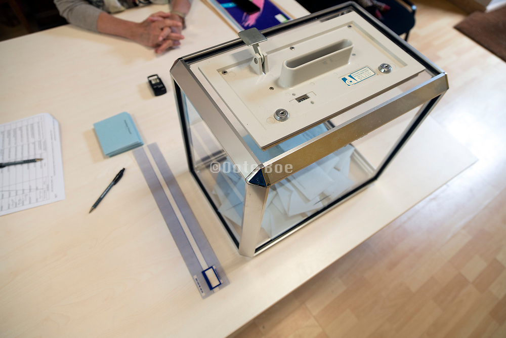 ballot box at a local voting station Europe France