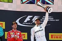 Barcellona - Gran Premio di Spagna - nella foto: Lewis Hamilton sul podio insieme a Sebastian Vettel