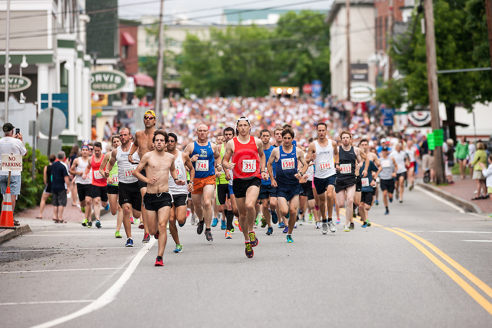 LL Bean Fourth of July 10K road race: start of race on Bow Street