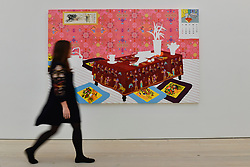 """© Licensed to London News Pictures. 13/09/2017. London, UK. A woman views """"The House in the Painting, The Painting in the House"""", 2008, by Sun Young Byun.  Preview of the START Art Fair at the Saatchi Gallery in Chelsea.  The fair showcases the best emerging artists from developing markets across the globe and is open to the public 14 to 17 September. Photo credit : Stephen Chung/LNP"""