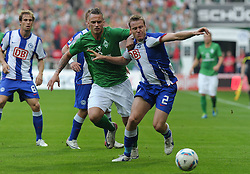 25.09.2011, Weserstadion, Bremen, GER, 1.FBL, Werder Bremen vs Hertha BSC, im Bild Marko Arnautovic (Bremen #7), Christian Lell (Berlin #2)..// during the match Werder Bremen vs Hertha BSC on 2011/09/25, Weserstadion, Bremen, Germany..EXPA Pictures © 2011, PhotoCredit: EXPA/ nph/  Frisch       ****** out of GER / CRO  / BEL ******