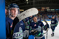 KELOWNA, CANADA - JANUARY 5: Sami Moilanen #18 and Zack Andrusiak #20 of the Seattle Thunderbirds stand at the bench and trash talk the Kelowna Rockets' bench on January 5, 2017 at Prospera Place in Kelowna, British Columbia, Canada.  (Photo by Marissa Baecker/Shoot the Breeze)  *** Local Caption ***