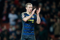 Grant Leadbitter of Middlesbrough looks dejected as he applauds the fans after Arsenal win 2-0 - Photo mandatory by-line: Rogan Thomson/JMP - 07966 386802 - 15/02/2015 - SPORT - FOOTBALL - London, England - Emirates Stadium - Arsenal v Middlesbrough - FA Cup Fifth Round Proper.