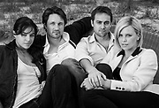 """Actors Michelle Rodriguez, Martin Henderson, director Stuart Townsend and actress Charlize Theron during the Sarasota Film Festival promoting their movie """"Battle in Seattle"""" on Sunday, April 13, 2008 at the Longboat Key Club on Longboat Key, Fla. (Photo by Craig Litten/SmallPlanetPhotography.com)"""