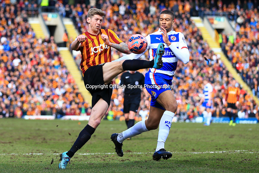 7th March 2015 - FA Cup - Quarter-Final - Bradford City v Reading - Jonathan Stead of Bradford battles with Michael Hector of Reading - Photo: Simon Stacpoole / Offside.