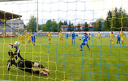 Penalty shot of Enes Demirovic vs goalkeeper of Domzale Darko Brljak at 32th Round of Slovenian First League football match between NK Domzale and NK Hit Gorica in Sports park Domzale, on May 6, 2009, in Domzale, Slovenia. Gorica won 2:0. (Photo by Vid Ponikvar / Sportida)