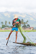 A leg rowing fisherman casting a net on Inle Lake, Myanmar.
