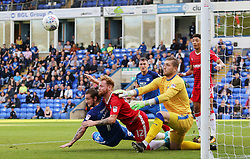 Jack Marriott of Peterborough United challenges for the ball with Connor Ogilvie and Tomas Holy of Gillingham - Mandatory by-line: Joe Dent/JMP - 14/10/2017 - FOOTBALL - ABAX Stadium - Peterborough, England - Peterborough United v Gillingham - Sky Bet League One