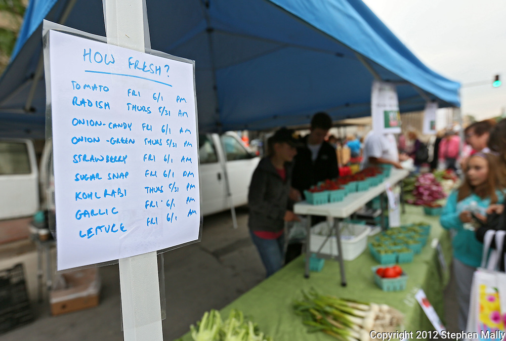 A sign at the Morgan Creek Farm & Market booth lists when their produce was picked at the Downtown Farmers' Market in Cedar Rapids on Saturday morning, June 2, 2012. There were 244 vendors who participated in the first market of the year. (Stephen Mally/Freelance)