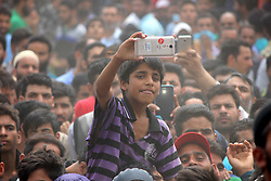 June 17, 2017 - Kulgam, Jammu and Kashmir, India - Kashmiri Young boy attend the funeral procession of a Slain Kashmiri rebel Junaid ah Matoo at Khudwani village of kulgam District, 60KM from Srinagar. Tawseef along with two associates killed in 20 hours long gun battle in Arwani Kulgam. (Credit Image: © Muneeb Ul Islam/Pacific Press via ZUMA Wire)