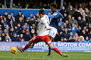 Birmingham City midfielder Demarai Gray shoots during the Sky Bet Championship match between Birmingham City and Charlton Athletic at St Andrews, Birmingham, England on 21 November 2015. Photo by Alan Franklin.