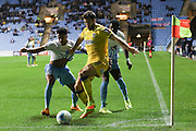 AFC Wimbledon defender Jon Meades (3) gets cornered during the EFL Sky Bet League 1 match between Coventry City and AFC Wimbledon at the Ricoh Arena, Coventry, England on 28 September 2016. Photo by Stuart Butcher.