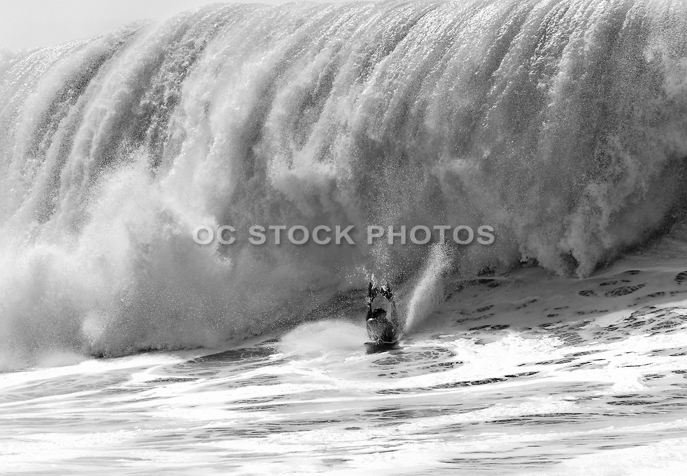Boogie Boarding at the Wedge in Newport Beach Black and White