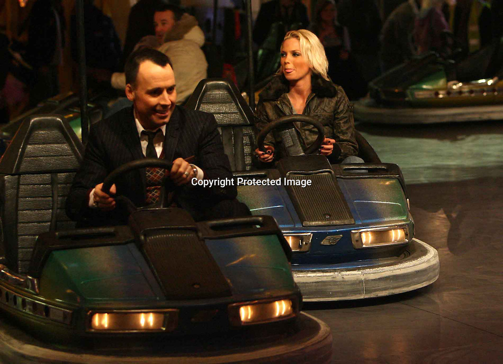 david furnish and girls aloud singer  at a fair ground in central london.15.12.06<br /> pix