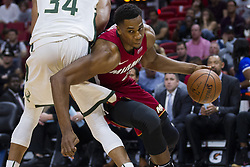 January 14, 2018 - Miami, FL, USA - Miami Heat center Hassan Whiteside (21) fights to get past Milwaukee Bucks' Giannis Antetokounmpo (34) in the first quarter on Sunday, Jan. 14, 2018 at the AmericanAirlines Arena in Miami, Fla. (Credit Image: © Matias J. Ocner/TNS via ZUMA Wire)