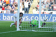 Swansea city's Michu scores his sides 1st goal with a header past Reading keeper Alex McCarthy. Barclays Premier league, Swansea city v Reading at the Liberty Stadium in Swansea, South Wales on Saturday 6th October 2012.   pic by  Andrew Orchard, Andrew Orchard sports photography,