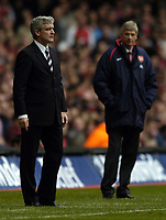Picture: Henry Browne, Digitalsport<br /> Date: 16/04/2005.<br /> Arsenal v Blackburn FA Cup Semi-Final.<br /> Mark Hughes with Arsene Wenger in the background.