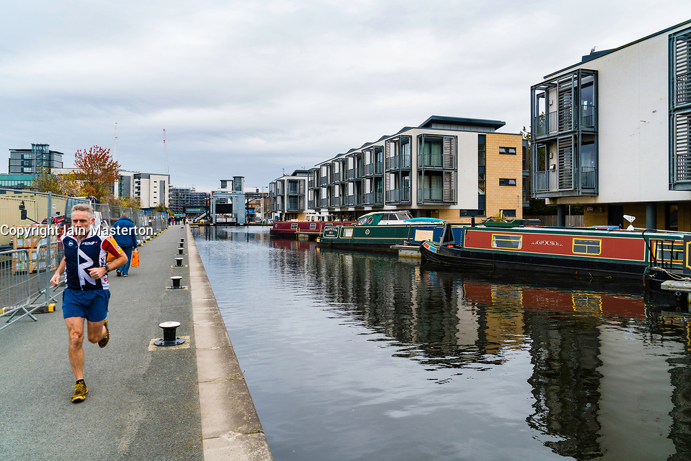 Modern apartments constructed beside Union Canal at Fountainbridge  in Edinburgh, Scotland, United Kingdom.