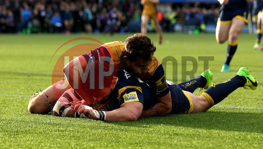 Wynand Olivier of Worcester Warriors scores a try - Mandatory by-line: Robbie Stephenson/JMP - 05/03/2017 - RUGBY - Sixways Stadium - Worcester, England - Worcester Warriors v Bristol Rugby - Aviva Premiership