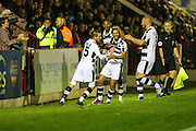 Forest Green Rovers players celebrate Fabien Robert(26) goal, 0-1during the Vanarama National League match between Aldershot Town and Forest Green Rovers at the EBB Stadium, Aldershot, England on 4 October 2016. Photo by Shane Healey.