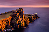 SCOTLAND - CIRCA APRIL 2016: Sunset over the Neist Point Lighthouse in Skye an Island in Scotland