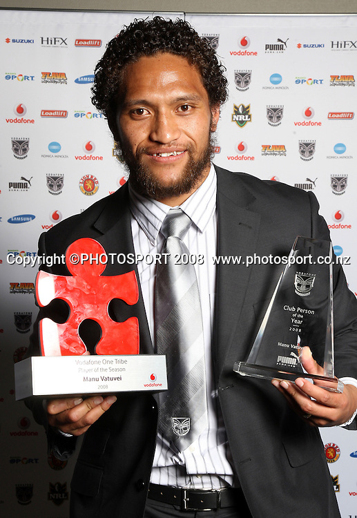 Manu Vatuvei. Vodafone Warrior's annual awards, Sky City Convention Centre, Auckland. 16 September 2008. Photo: Andrew Cornaga/PHOTOSPORT
