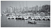 Yachts at mooring Hong Kong Harbour