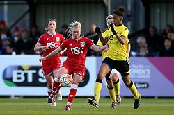 Millie Farrow of Bristol City Women tries to get past Elisha N'Dow of Aston Villa Ladies - Mandatory by-line: Robbie Stephenson/JMP - 02/01/2012 - FOOTBALL - Stoke Gifford Stadium - Bristol, England - Bristol City Women v Aston Villa Ladies - FA Women's Super League 2