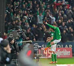 21.12.2013, Weserstadion, Bremen, GER, 1. FBL, SV Werder Bremen vs Bayer 04 Leverkusen, 17. Runde, im Bild Aleksandar Ignjovski (SV Werder Bremen #17) jubelt auf den Schultern von Santiago Garcia (SV Werder Bremen #2), der gerade den Siegtreffer erzielt hat // Aleksandar Ignjovski (SV Werder Bremen #17) jubelt auf den Schultern von Santiago Garcia (SV Werder Bremen #2), der gerade den Siegtreffer erzielt hat during the German Bundesliga 17th round match between SV Werder Bremen and Bayer 04 Leverkusen at the Weserstadion in Bremen, Germany on 2013/12/21. EXPA Pictures © 2013, PhotoCredit: EXPA/ Andreas Gumz<br /> <br /> *****ATTENTION - OUT of GER*****