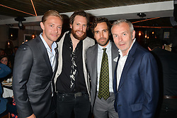 Left to right, ANDREAS HOLTZ, MARC BURTON, DIEGO BIVERO-VOLPE and PIERS ADAM at the launch of Geisha at Ramusake hosted by Piers Adam and Marc Burton at Ramusake, 92B Old Brompton Road, London on 11th June 2015.