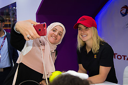 February 13, 2019 - Doha, QATAR - Elina Svitolina of the Ukraine visits the Total Booth at the 2019 Qatar Total Open WTA Premier tennis tournament (Credit Image: © AFP7 via ZUMA Wire)