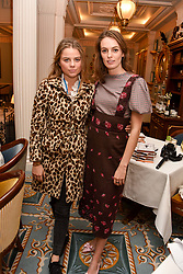 Left to right, Bea Fresson and Lady Violet Manners at an afternoon tea in honour of Megan Hess hosted by Lady Violet Manners at The Lanesborough, Hyde Park Corner, London, England. 10 November 2017.