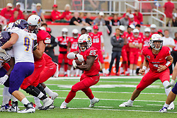 NORMAL, IL - October 06: James Robinson exploits a hole in the line after the handoff from Brady Davis during a college football game between the ISU (Illinois State University) Redbirds and the Western Illinois Leathernecks on October 06 2018 at Hancock Stadium in Normal, IL. (Photo by Alan Look)