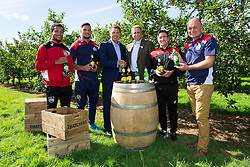Bristol City' s Korey Smith, Bristol Rugby's Jack Lam, Bristol Sport CEO Andrew Billingham, Thatcher's Cider Director Martin Thatcher, Bristol CIty Manager Lee Johnson and Bristol Rugby's Director of Rugby Andy Robinson - Rogan Thomson/JMP - 29/07/2016 - PR - Myrtle Farm - Sandford, England - Bristol Sport Thatchers Visit.