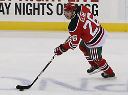 Mar 18; Newark, NJ, USA; New Jersey Devils left wing Patrik Elias (26) skates with the puck during the first period of their game against the Washington Capitals at the Prudential Center.
