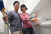 Couple Doing Housework