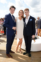 Left to right, JAMES WALLWORK, TONYA MELI and SAM CLAFLIN at the Audi Polo Challenge 2013 at Coworth Park Polo Club, Berkshire on 3rd August 2013.