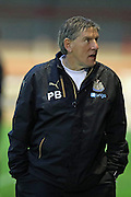 Newcastle United football development manager Peter Beardsley during the U23 Premier League match between U23 Brighton and Hove Albion and U23 Newcastle United at the Checkatrade.com Stadium, Crawley, England on 19 September 2016.
