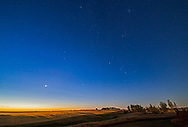 The winter stars and constellations in dawn in early September (Sept 5, 2017) from home in Alberta. <br /> <br /> Venus is the bright object at left in the morning twilght. Orion is at right, with Sirius just rising above the trees. The rest of the winter panorama of constellations are all there: Auriga at top, Taurus and the Pleiades at top right, and Gemini left of centre The Beehive star cluster in Cancer is above and right of Venus. Procyon is right of Venus. <br /> <br /> This illustrates how the winter stars can be seen even here even in what is officially still summer, before the autumn equinox, provide you get up very early! <br /> <br /> The nearly Full Moon is setting opposite this scene, providing some of the foreground illumination and shadows. <br /> <br /> This is a two-section panorama with the Rokinon 14mm SP lens at f/2.5 and Canon 6D.