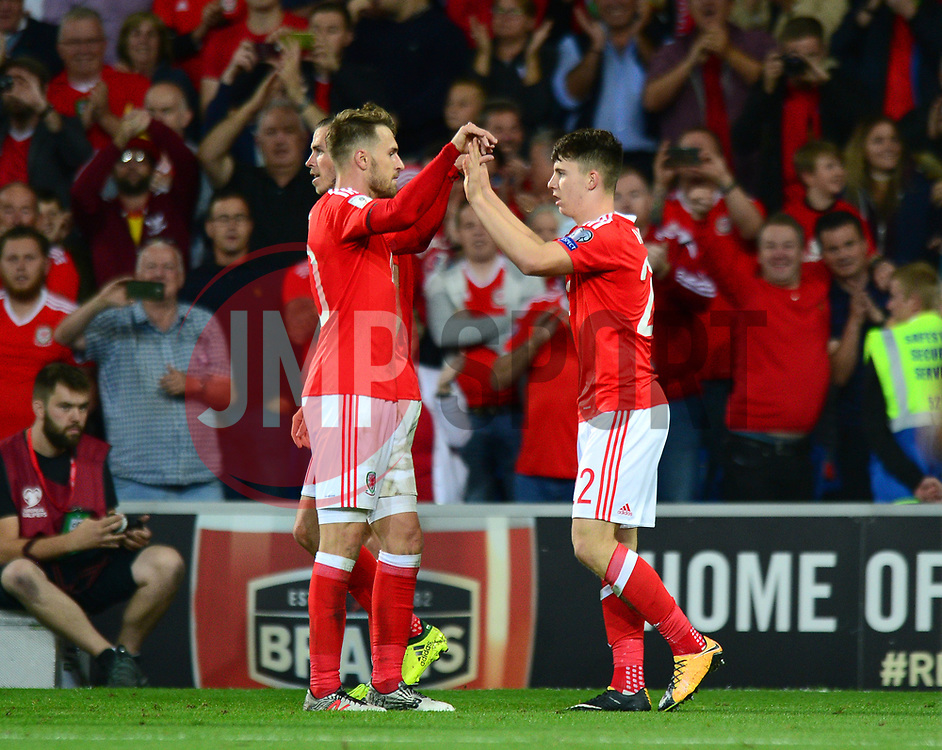 Ben Woodburn of Wales celebrates scoring a goal with Aaron Ramsey of Wales - Mandatory by-line: Dougie Allward/JMP - 02/09/2017 - FOOTBALL - Cardiff City Stadium - Cardiff, Wales - Wales v Austria - FIFA World Cup Qualifier 2018