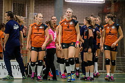 22-10-2016 NED: Springendal/Set Up`65 - Flynth Flamingo's Activia, Ootmarsum<br /> In Ootmarsum was Set-Up'65 in vier sets te sterk voor Fast. In de eerste drie sets was het verschil minimaal (25-23, 23-25, 26-24) / Melanie Grob #1 of Set Up 65, Loes Hollink #4 of Set Up 65, Kirsten Oude Luttikhuis #2 of Set Up 65