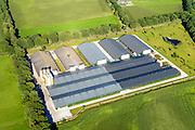 Nederland, Noord-Brabant, Gemeente Uden, 23-08-2016; varkensboerderij met megastallen ten oosten van Volkel in De Peel. Varkensfokkerijen zijn rijk vertegenwoordigd in dit deel van Brabant.<br /> Pig farm with megastalls east of Volkel in the Peel. Breeding pigs are well-represented in this part of Brabant.<br /> aerial photo (additional fee required); <br /> luchtfoto (toeslag op standard tarieven);<br /> copyright foto/photo Siebe Swart