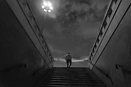 Portugal. Lisbon. Belem, man walk out of a subway