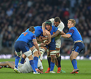 Twickenham, Great Britain, Courtney LAWES,  reaching over Thierry DUSAUTOIR, shoulder attempting to rake the ball free, during the Six Nations Rugby England vs France, played at the RFU Stadium, Twickenham, ENGLAND. <br /> <br /> Saturday   21/03/2015<br /> <br /> [Mandatory Credit; Peter Spurrier/Intersport-images]