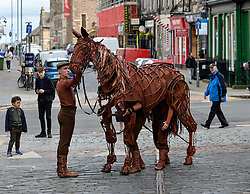 Joey, the life-sized puppet horse from the hit production of War Horse, arrived outside the Festival Theatre in Edinburgh with actor Thomas Dennis, who plays Albert.<br /> <br /> © Dave Johnston/ EEm