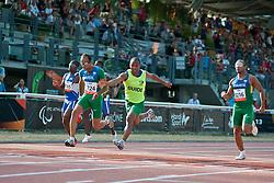 SHIKONGO Ananias Guide: TJIVIJU Even, PRADO Lucas Guide:  MARTINS Lorenzo Alves, GOMES Felipe Guide:  BORGES Jorge, NAM, BRA, 100m, T11, 2013 IPC Athletics World Championships, Lyon, France