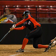 02 March 2018: San Diego State softball closes out day two of the San Diego Classic I at Aztec Softball Stadium with a night cap against CSU Northridge. San Diego State first baseman Taylor Adams (99) keeps the inning alive with a two out infield single. The Aztecs dropped a close game 2-0 to the Matadors. <br /> More game action at sdsuaztecphotos.com